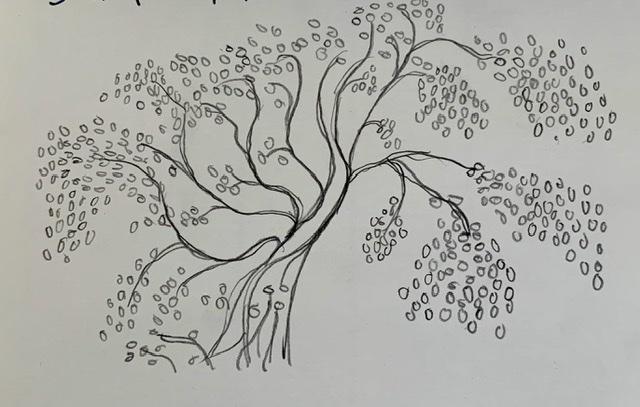 Tegning af Annette Hoff-Jessen. Atelier-Kaiserborgen.