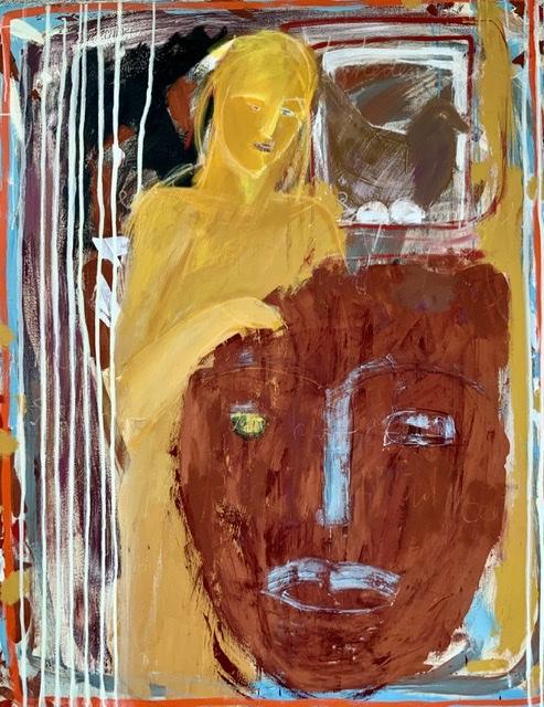 Annette Hoff-Jessen. Maleri. Maske. Atelier-Kaiserborgen.
